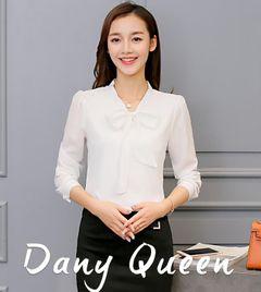 JC Women clothes Korean Casual Chiffon Blouse Shirt Pink White Office Women Shirt Chiffon Women Tops XL white