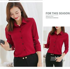 JC Women clothes Korean Casual Chiffon Blouse Shirt Red/Pink/white Office Women Shirt Chiffon Tops S red dark