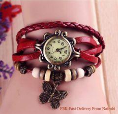 JC  women watches retro twist bracelet watch four leaf grass electronic ladies Watches gift red one size