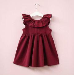 JC Baby Girls Clothing fashionable Ruffle lace up bow dress Newborn kids Clothes Maternity wine 110cm