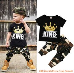 JC Kids Baby Boy Summer Clothing Set Toddler Black Camouflage pant  Outfit Shirt+Pants black 120