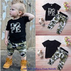 JC Baby Boys Clothes T-shirt Dope Print Tops+Pants 2pcs Vogue newborn Kids Clothes wear dresses black 100