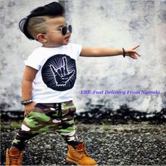JC Baby Boys Clothes kids T-Shirt Short Sleeve Toddler Outfit Long Pants dresses wear Clothing white + green 100cm