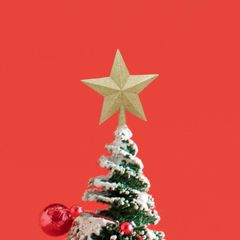 20CM  top star bright pink Christmas tree decorations with empty five-pointed stars Gold 1pcs