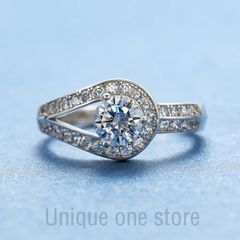 Extremely luxurious diamond ring 2 carat  diamond  female fashion wedding  Engage Ring proposal c1 adjustable
