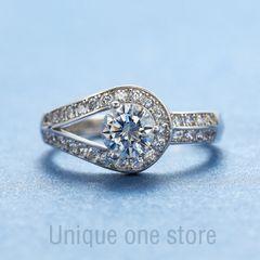 Best gift luxurious diamond ring 2 carat  diamond  female fashion wedding  Engage Ring proposal c1 adjustable