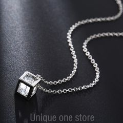 Necklace, love, Rubik's cube, Zircon Pendant, jewelry, short clavicle chain, fashion c1 one size