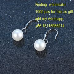 Pearl Earrings simple women's Silver Earrings Jewelry temperament European and American Earrings c1 12mm