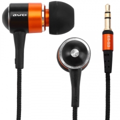 1.2m Noise Isolating Hi-definition Music Headphone Earphone Headset AWEI ES-Q3 Orange