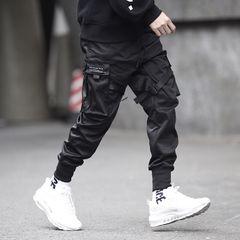 Pocket Elastic Waist Design Harem Pant Men Streetwear Punk Hip Hop Casual Trousers Joggers Male black l