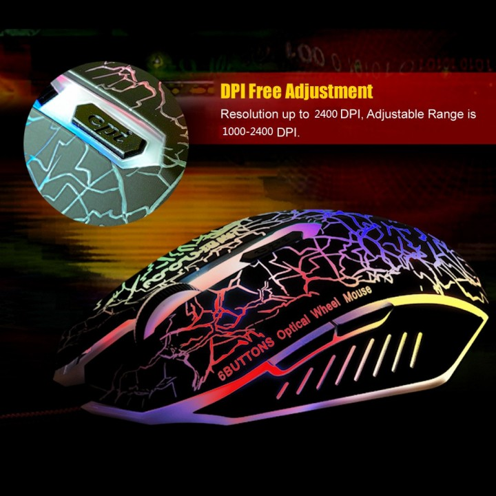 Adjustable Six Buttons  Wired Wheel Colorful Gradient Professional Athletics Gaming Mouse