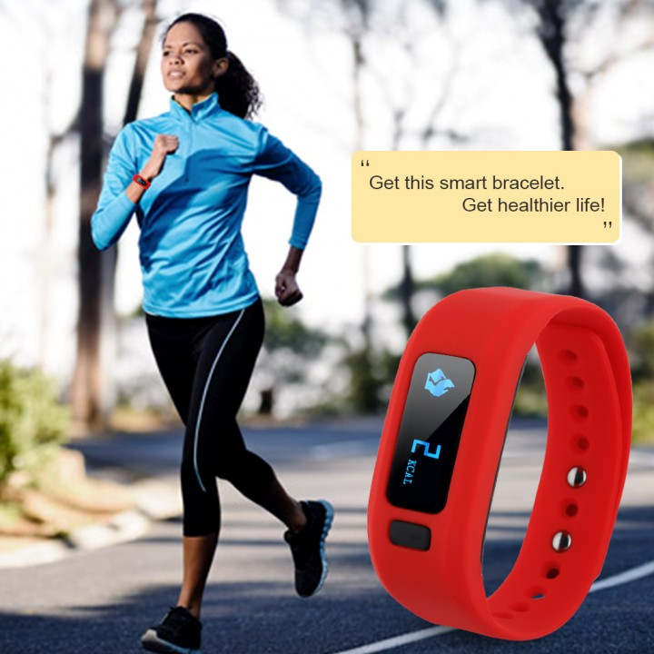 Excelvan Smart Bracelet Bluetooth V4.0 Wristband Red One Size