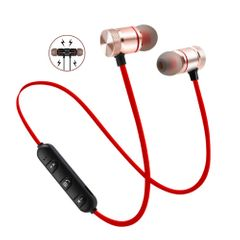 Bluetooth Wireless Earphones Sport Headset HIFI Stereo Earbud Super Bass In-ear Headphone with Mic red