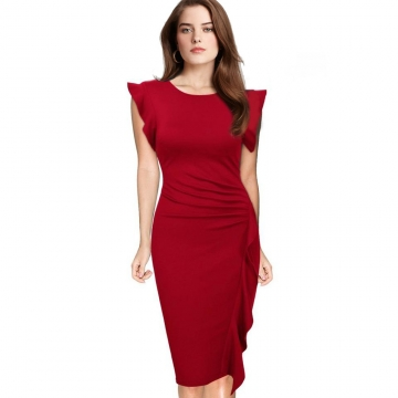 Elegant Pencil Dress Women's Retro Ruffles Cap Sleeve Slim Business Pencil Cocktail Ladies Dresses Red L
