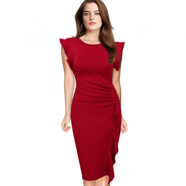 Elegant Pencil Dress Women's Retro Ruffles Cap Sleeve Slim Business Pencil Cocktail Ladies Dresses Red L