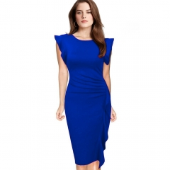 Elegant Pencil Dress Women's Retro Ruffles Cap Sleeve Slim Business Pencil Cocktail Ladies Dresses Blue M