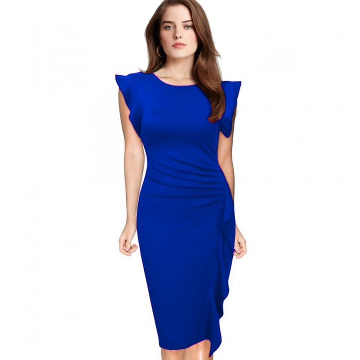 Elegant Pencil Dress Women's Retro Ruffles Cap Sleeve Slim Business Pencil Cocktail Ladies Dresses Blue 2XL