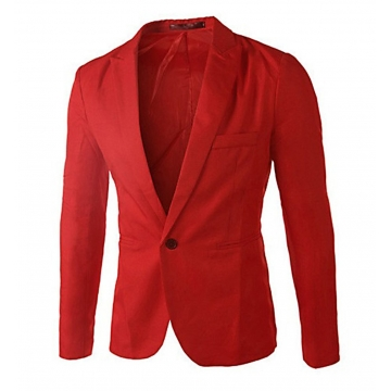 Men Slim Fit Business Casual Premium Blazer Jackets Red M