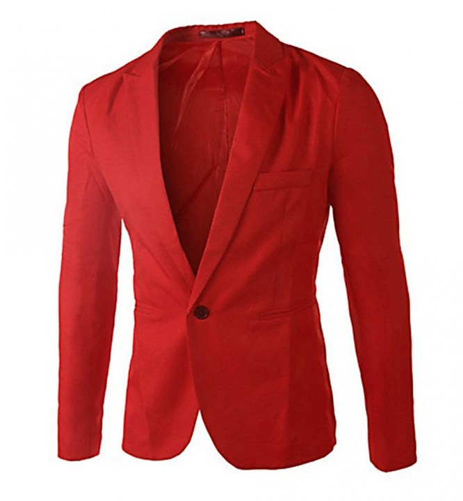 Men Slim Fit Business Casual Premium Blazer Jackets Red XL