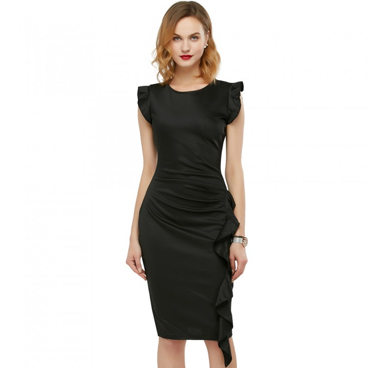 Elegant Pencil Dress Women's Retro Ruffles Cap Sleeve Slim Business Pencil Cocktail Ladies Dresses Black L