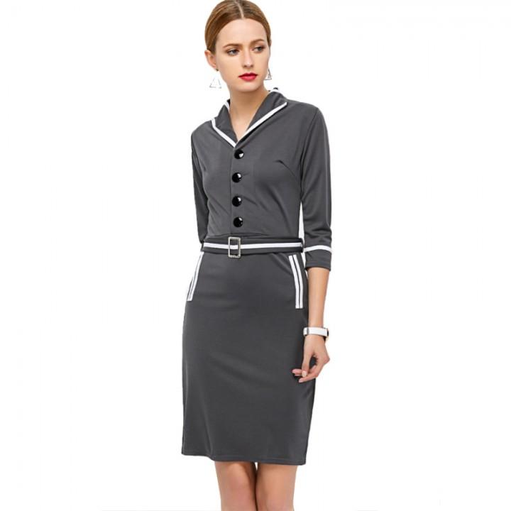 Elegant Fashion Women Dress Gray XL