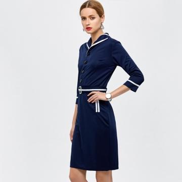 Elegant Fashion Women Dress Blue L