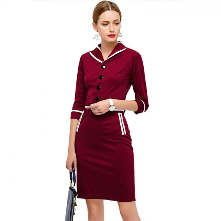 Elegant Fashion Women Dress Red L