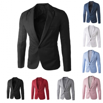 Men Slim Fit Business Casual Premium Blazer Jackets Black 2XL