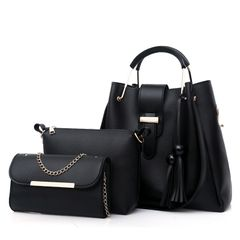 Big Discount 3Pcs Women Handbags 2020 New Women's Bag Handbag Lady Bag Set black as the picture
