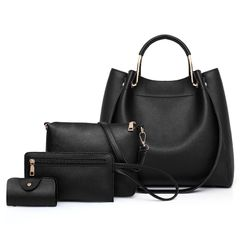 big discount only for christmas sale 4pcs bag  mother multi-piece bag shoulder diagonal 3pcs handbag black as the picture