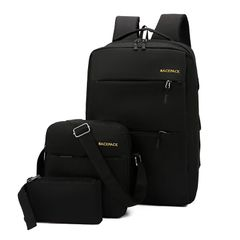 big discount only for christmas sale 3pcs usb men's backpack set Oxford large waterproof bag black as the picture