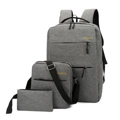 big discount only for Valentine's Day  3pcs usb men's backpack set Oxford large waterproof bag gray as the picture
