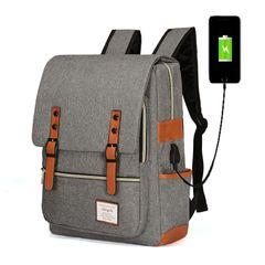 Backpack for Men Women Laptop Bag Notebook Bag Travel Bag with USB Charging Anti-Theft Leisure gray as the picture