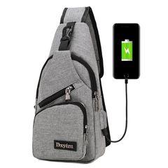 Messenger Travel Shoulder Bags Chest Bag USB With Headphone Hole Designer Exquisite Sports Bag gray