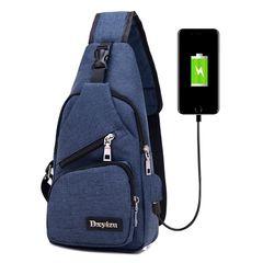Messenger Travel Shoulder Bags Chest Bag USB With Headphone Hole Designer Exquisite Sports Bag blue