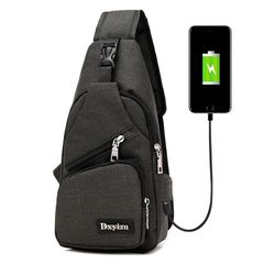 Messenger Travel Shoulder Bags Chest Bag USB With Headphone Hole Designer Exquisite Sports Bag black