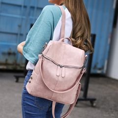 Woman Backpack High Quality Youth PU Leather Backpacks for Teenage Girls Female School Shoulder Bag pink as the picture