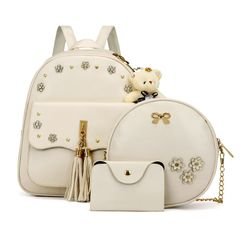 Fashion Cute Backpack Bags Female Backpack Ladies Backpacks 3 Pcs Set for Students white