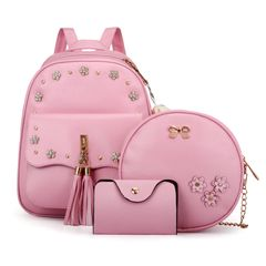 Fashion Cute Backpack Bags Female Backpack Ladies Backpacks 3 Pcs Set for Students pink