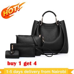 Big Discount Handbags for Ladies 4Pcs Handbags for Women Buy 1 Get 4 Handbags black as the picture