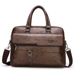 Briefcase Bags Messenger Bags Men Shoulder Bag Men Business Bags Laptop Bag Leather Bags Traveling Brown 39*6*28 cm
