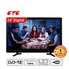 (New Arrival) CTC  24 Inch Digital  TV LED HD 1080P Television with 12 Months Warranty black 24''