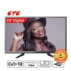 (Special Offer)CTC 24 Inch Digital  TV LED HD Televisions with 24 Months Warranty black 24''
