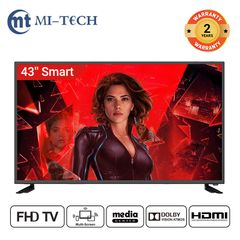 Mi-Tech 43 Inch FHD Smart Television with DOLBY  2 years warranty black 43''