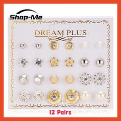 Shop Me New Arrival Beautiful Earrings 12 Pairs Of Pearl Flower Bow Zircon 4 Different Styles Shop Me 1 12 pairs