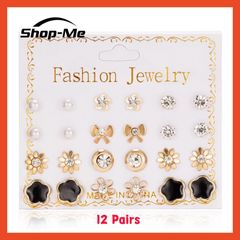 Shop Me New Arrival Beautiful Earrings 12 Pairs Of Pearl Flower Bow Zircon 4 Different Styles Shop Me 2 12 pairs