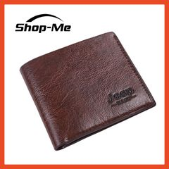 Men Wallets PU Leather Jeep Wallets Classic Short Style Card Bag And Coins Purse Card Holders Gifts Deep Brown 10cm*11.5cm*0.5cm