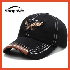 New Men's Autumn And Winter Baseball Cap Embroidery Eagle Design Black And Brown Adjustable Size Black One size