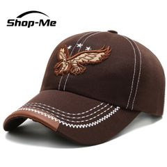 New Men's Autumn And Winter Baseball Cap Embroidery Eagle Design Black And Brown Adjustable Size Brown One size