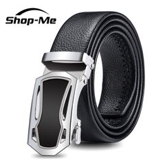 Men's Fashion Business Belts Leather Strap Male Belt 120CM Automatic Buckle Belt Silvery And Golden Silvery 120cm